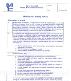 Water Control Construction | Health & Safety policy certificate for MCL